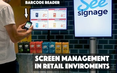 Screen management with a barcode scanner